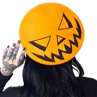 Orange Trick or Treat Pumpkin Beret by Kreepsville 666