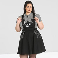 Plus Size Miss Muffet Spiderweb Pinafore Dress  by Hell Bunny