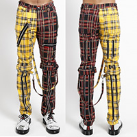 Split Leg Unisex Bondage Pants w Straps by Tripp NYC - Yellow Tartan & Black Plaid