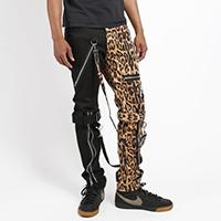 Split Leg Bondage Pants w Straps by Tripp NYC - Unisex Black & Leopard
