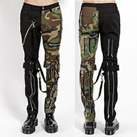 Split Leg Bondage Pants w Straps by Tripp NYC - Unisex Black & Green Camo