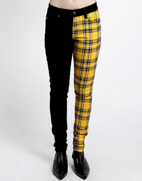 3bb93a8b5 Split Personailty Split Leg Jean by Tripp NYC - Yellow Plaid & Black - SALE