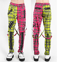 Split Leg Madness Unisex Bondage Pants w Straps by Tripp NYC - Lime & Pink Plaid