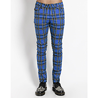 Tripp NYC Rocker Blue Plaid Skinny Stretch Jeans