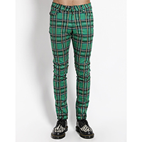 Tripp NYC Rocker Green Plaid Skinny Stretch Jeans