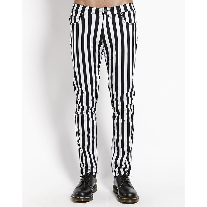 Tripp NYC Rocker Black & White Medium Striped Rocker Skinny Stretch Jeans