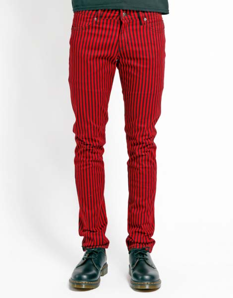 Tripp NYC Rocker Black & Red Striped Rocker Skinny Stretch Jeans