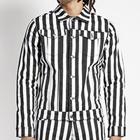 Black & White Stripe Unisex Trucker Jacket - by Tripp NYC