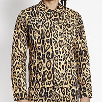 Natural Leopard Unisex Trucker Jacket - by Tripp NYC