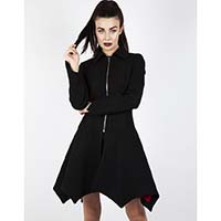 Bat Hem Black Wool Coat by Jawbreaker