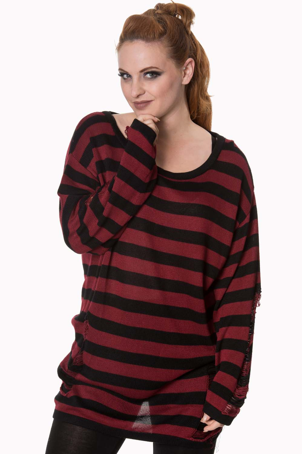 fdf9ec6053 Touch Break Striped Oversized Distressed Sweater by Banned Apparel - red    black stripe - SALE