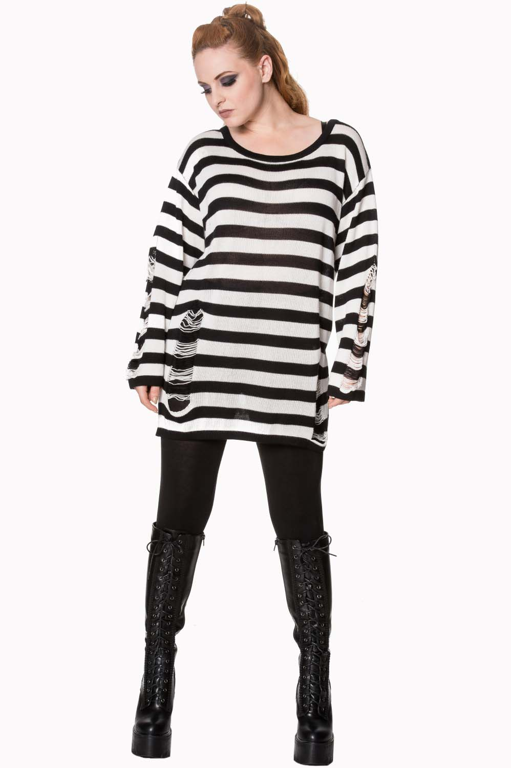 Touch Break Striped Oversized Distressed Sweater by Banned Apparel - white & black stripe - SALE sz M only