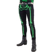 Kreepsville 666 Unisex Skeleton Bone Skinny Stretch Jeans - Green Bone