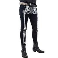 Kreepsville 666 Unisex Skeleton Bone Skinny Stretch Jeans - White Bone