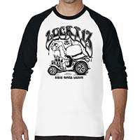 Humorous 3/4 Sleeve Raglan shirt by Lucky 13 Clothing - black & white