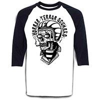 Scumbag on a black/white baseball raglan shirt by Lucky 13 Clothing