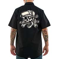 Skull Bro Short Sleeve Workshirt by Lucky 13 - sz L only