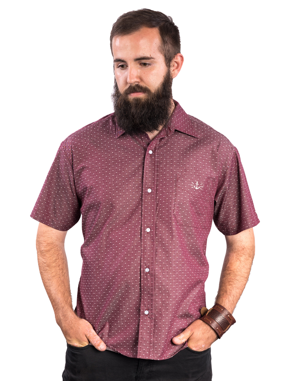 Half Seas Button Up Western Shirt by Steady - in Burgundy - SALE