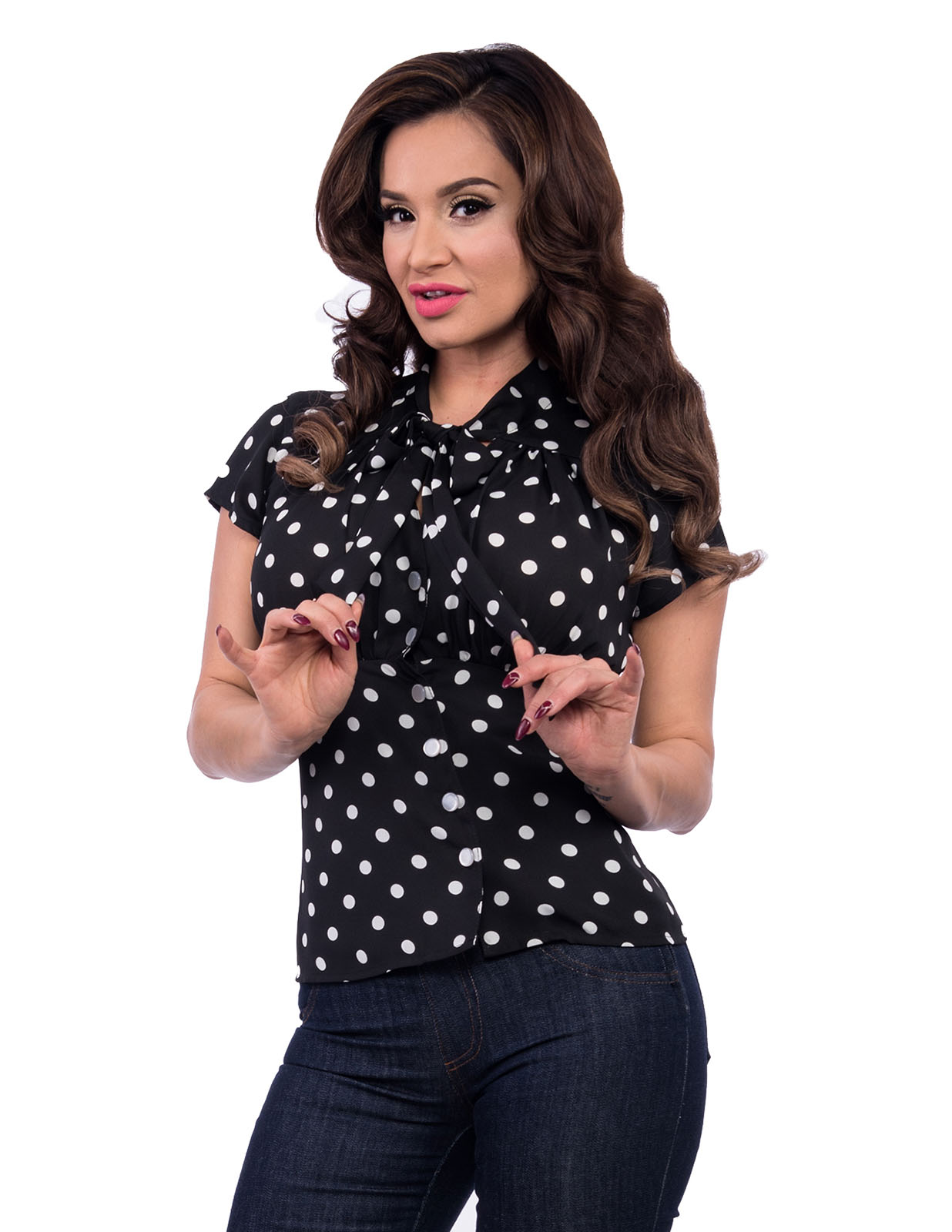 Harlow Chiffon Top in Black & White Polka Dot by Steady