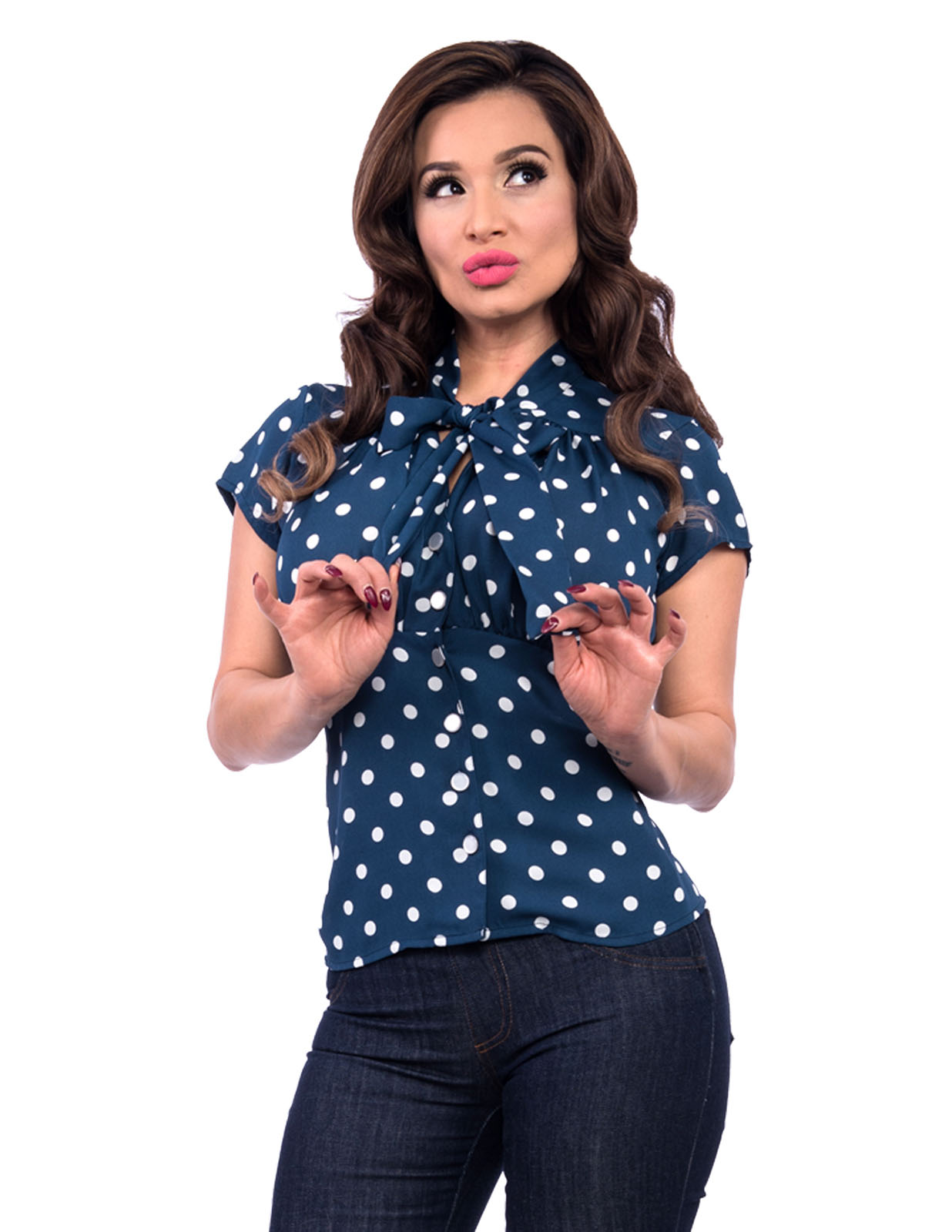Harlow Chiffon Top in Navy & White Polka Dot by Steady- SALE - 4X only