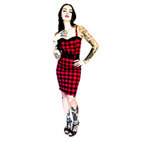 Darling Dress by Switchblade Stiletto - Red Gingham - SALE sz 2X only