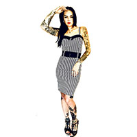 Darling Dress by Switchblade Stiletto - White Stripe