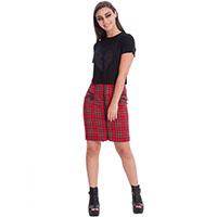 Red Tartan Zip Skirt by Banned Apparel