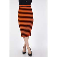 Orange & Black Halloween Striped Knit Pencil Skirt by Voodoo Vixen - SALE sz XL only