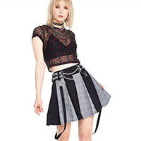 Houndstooth Two Tone Plaid & Black Bondage Mini Kilt Skirt by Jawbreaker