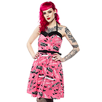 Spooksville Death Cab Dress by Sourpuss - in pink - SALE sz S & M only