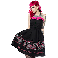 Spooksville Batty Pinstripe Dress by Sourpuss - SALE sz M & L only