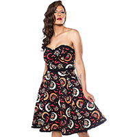 Over The Moon Sweetheart Dress by Sourpuss - Vintage Halloween Print - SALE