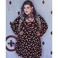 Keyhole Long Sleeve Luna Bat Print Skater Dress by Sourpuss