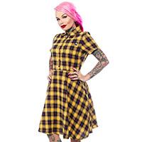 Yellow Plaid Button Down Dress by Sourpuss