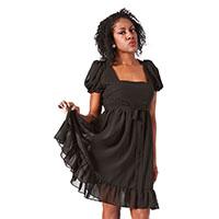 Cream Puff Black Baby Doll Dress by Sourpuss