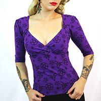 Bella Pentagram Top by Switchblade Stiletto- Purple - SALE sz L only