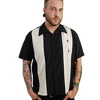 3 Star Retro Panel Shirt by Last Call - Steady Clothing - Black