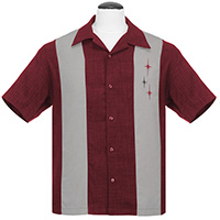 3 Star Retro Panel Shirt by Last Call - Steady Clothing - Burgundy