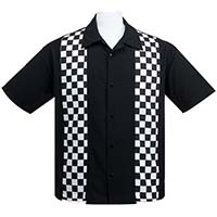 V8 Retro Checkered Button Up Panel Shirt by Steady Clothing