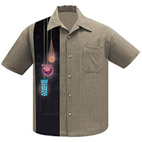 Tiki Lights Button Up Panel Shirt by Steady Clothing