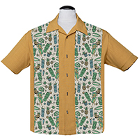 Hula & Cocktails Panel Shirt by Last Call - Steady Clothing - Mustard