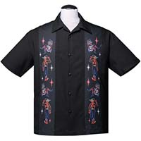 Neon Vegas Mini Panel Button Up Lounge Shirt by Steady Clothing - Black