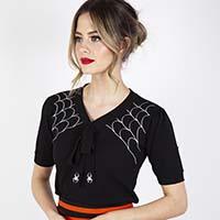 Spider Web & Bow Sweater by Voodoo Vixen - SALE sz XL only