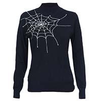 Voodoo Vixen X Acid Doll Collab Retro Spiderweb Embroidered Mock Turtleneck Sweater