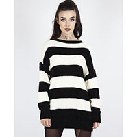 Oversized Striped Black & Cream Unisex Sweater by Jawbreaker - sz M only