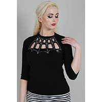 Morticia Cage Neck Spider Web Embroidered Sweater by Jawbreaker