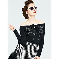 Salma Long Sleeve Spider Web Collar Of the Shoulder Top by Voodoo Vixen