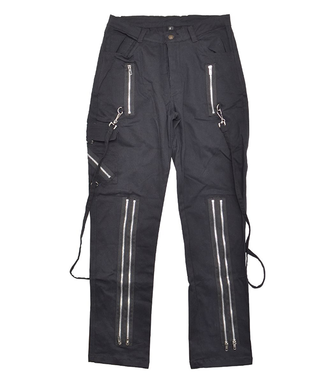 Black Unisex Zip Bondage Pants by Banned Apparel