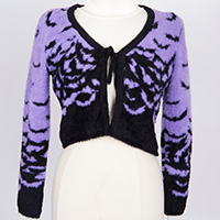 Fly Me Fuzzy Mohair Tie Cropped Cardigan by Too Fast Clothing - Purple Bats