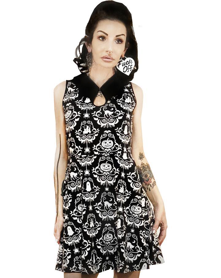 6c13011b0d8 Bat Collar Dress by Too Fast   Rat Baby Clothing - Halloween Damask ...